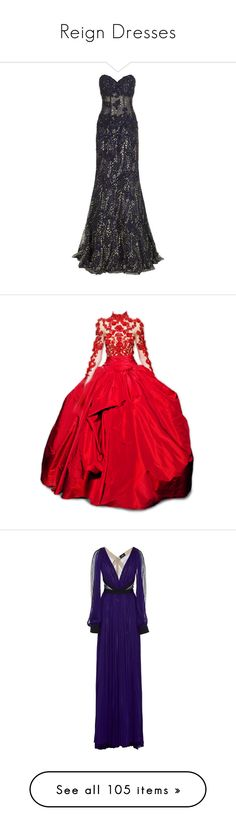 """Reign Dresses"" by fandoms-styles ❤ liked on Polyvore featuring dresses, gowns, long dresses, black corset, black lace ball gown, lace gown, black strapless dress, black dress, red and red dress"