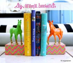 Clever idea for bookends. Could try other items if not horses, like trucks or motorbikes...