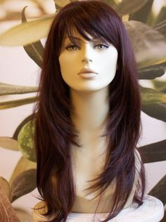 Full womens ladies fashion hair wig two tone dark red long heat resist uk - Couleur Cheveux 01 Frontal Hairstyles, Wig Hairstyles, Hairstyles 2016, Drawing Hairstyles, Haircuts For Long Hair With Layers, Layered Hair With Bangs, Layered Hairstyle, Hair Cuts For Long Hair With Bangs, Long Straight Hairstyles