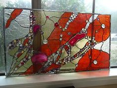 Abstract Stained Glass Transom Panel Window Suncatcher Divider Agates Nuggets   eBay