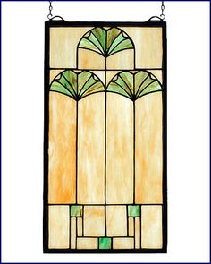 Mackintosh design Ginko Leaf Stained Glass panel