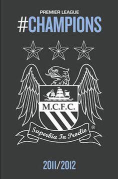 Manchester City Crest : Champions - Maxi Poster (new & sealed) Premier League Winners, Premier League Champions, Manchester City Wallpaper, Kun Aguero, Dorm Posters, Best Football Team, Football Art, Blue City, English Premier League