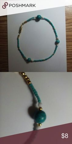 """ANKLE BRACELET ..turquoise & gold Approx. 8"""" inches around.  Faux turquoix and gold and white beads.  I use TWIST CLASP FOR EASE of putting it on. DURABLE. You can put exstenders on these and wear over boots or gladiator Sandler as well. Jewelry Bracelets"""
