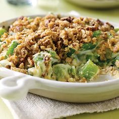 4 creative ways to use the most boring vegetable in your fridge - like this Creamy Celery with Savory Pecan-Granola Crumble. #recipes #vegetarian #healthyrecipes | everydayhealth.com
