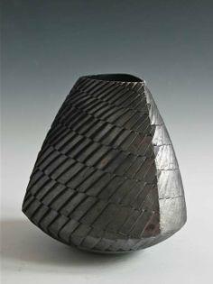 ashraf hanna: '31. Small Angular Carved Vessel' 41 x 41 cm.