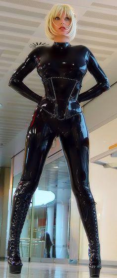 Very sexy black latex catsuit.