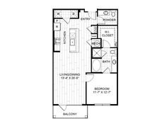 A10 – One Bedroom Apartment / One Bathroom  967 Square Feet