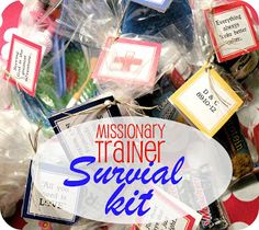 """Missionary Mail: Missionary """"Trainer"""" Survival Kit and more really great ideas. Missionary Letters, Missionary Farewell, Missionary Care Packages, Missionary Gifts, Sister Missionaries, Farewell Parties, Farewell Gifts, Survival Supplies, Survival Prepping"""