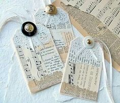 Sheet music gift tags