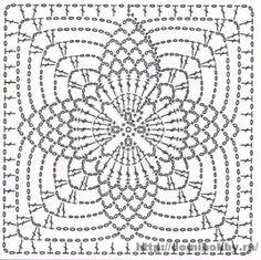 Crochet motifs chart Circular center 4 points ends as a square Crochet Motif Patterns, Crochet Blocks, Crochet Diagram, Crochet Chart, Crochet Squares, Crochet Granny, Crochet Doilies, Crochet Stitches, Knit Crochet