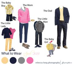 April 2013 family picture outfit planning yellow navy blue grey and pink