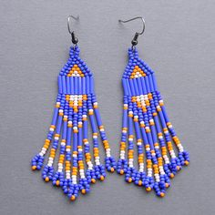 Blue and Orange Native American Style Long Seed by Anabel27shop,