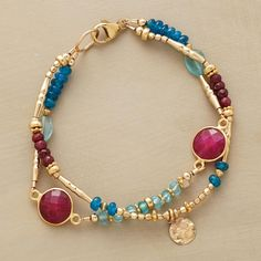 "RUBY BLUES BRACELET -- In this handmade ruby and apatite bracelet, ruby rounds in golden rims are spotlights amid a two-blue mix of apatites, smooth and faceted. Paillettes and a variety of 14kt gold filled beads lend their glow. Lobster clasp. Sundance exclusives handcrafted in USA. Approx. 7-1/2""L."
