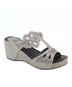 61e1fde30473 This Champagne Rhinestone Flower Platform Sandal is perfect!