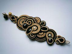 Black and Gold Soutache Bracelet by AllasSoutache on Etsy, $150.00