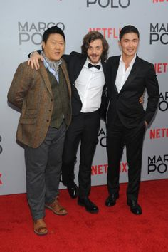Benedict Wong, Rick Yune and Lorenzo Richelmy at event of Marco Polo (2014)