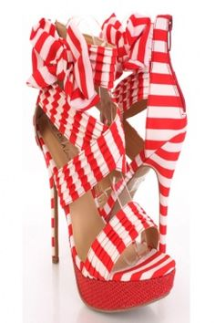 RED Striped Fabric Open Toe Bow Pleated Platform Heels