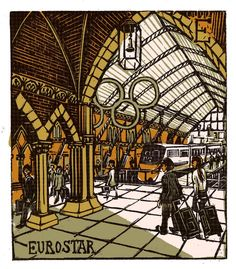 """E - Eurostar"" from ""London A-Z"" Complete Boxed Set linocuts by Tobias Till, 2012. http://www.tobias-till.co.uk/. Tags: Linocut, Cut, Print, Linoleum, Lino, Carving, Block, Woodcut, Helen Elstone, Buildings, Architecture, Train Station, People, Glass."