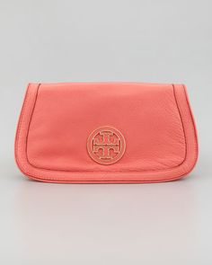 Tory Burch Amanda Logo Clutch Bag, Strawberry - Neiman Marcus