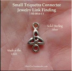 Sterling Silver Small Triquetra Jewelry Connector, Celtic Jewelry Supply-Sterling Silver Celtic Triquetra Jewelry Connector Findings Overall Size : 14