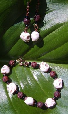 #Howlite #Skull and #Red #Lava Rock #Earrings and #Bracelet Set #thecraftstar $29.95