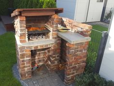 (The grill) . Outdoor Bbq Kitchen, Outdoor Cooking Area, Outdoor Stove, Grill Design, Patio Design, Outdoor Kocher, Build A Smoker, Chicken Shed, Brick Bbq