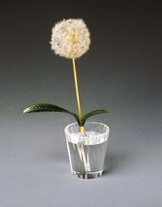 Potted Dandelion Plant in Crystal Pot, by Peter Faberge, 1870-1920...jade, gold, platinum, diamonds, possibly asbestos, and crystal, Brooklyn Museum of Art.