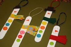 Popsicle Stick Ornaments | Easy Craft: Popsicle Stick Snowman Ornaments