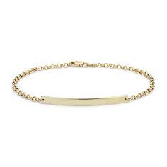 Engraveable Bar Bracelet in 14k Yellow Gold