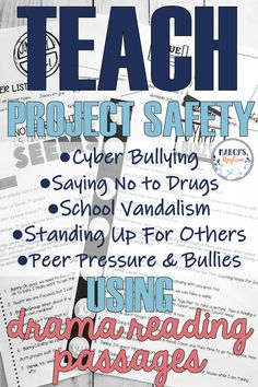 This product makes teaching project safety lessons easy using drama reading comprehension. Students will learn about cyber bullying, saying no to drugs, peer pressure and more. Reading Comprehension Strategies, Reading Passages, Teaching Reading, Teaching Ideas, Cyber Bullying, Third Grade Reading, Authors Purpose, Common Core Reading, Peer Pressure