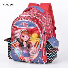 51e4f4c2c4 Mochilas para Escola Feminina Notável Estampa com dos Desenhos Animados  Fecho tipo Zíper Trolley Backpack para Meninas Material de Nylon