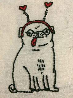 My second attempt at embroidery: A derpy pug! : Embroidery