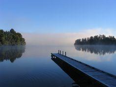 Morning mist on Lake Mapourika, New Zealand