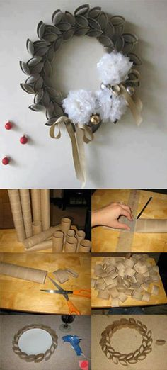 Fun way to use those paper towel rolls. Toilet Paper Flowers, Toilet Paper Roll Art, Rolled Paper Art, Homemade Christmas Gifts, Homemade Gifts, Christmas Crafts, Crafts For Kids, Arts And Crafts, Paper Crafts