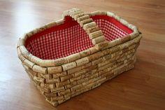 cork covered picnic basket