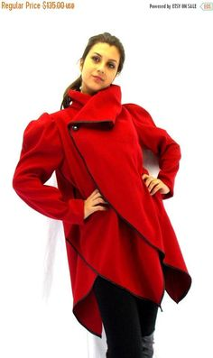 Red Asymmetrical Extravagant Coat / Wool Plus Size Jacket / Red Cashmere Coat  Jacket. SALE 40% OFF ...