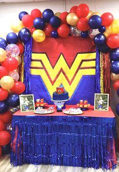 Wonder woman party cake decoration on Mercari Wild One Birthday Party, Safari Birthday Party, Boy Birthday Parties, 4th Birthday, Sweet 16 Party Decorations, Birthday Party Decorations Diy, Birthday Crafts, Balloon Decorations, Wonder Woman Birthday