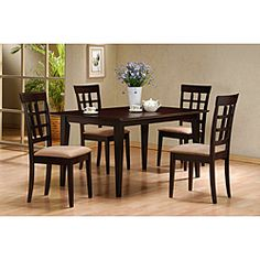 @Overstock - Materials: Wood, Wood Veneers Finish: Cappuccino  Large Oversized Apronhttp://www.overstock.com/Home-Garden/Cappuccino-Dining-Table/6324710/product.html?CID=214117 $229.99