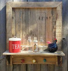 Rustic Reclaimed Pallet Wood Shelf Wrought Iron Brackets Ceramic Knobs Hooks