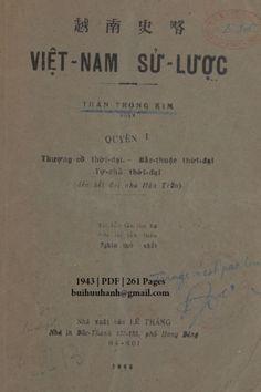 Việt Nam Sử Lược Quyển I (NXB Lê Thăng 1943) - Trần Trọng Kim, 261 Trang | Sách Việt Nam