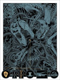 "Jurassic Park - Dan McCarthy ---- art from Mondo's ""When Dinosaurs Ruled the Earth,"" a dino-sized gallery show of artworks and screen prints celebrating the Jurassic iconography. (2015-06)"