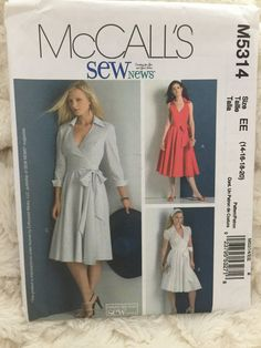 McCall's Misses Womens Dresses Sewing Pattern M5314 UC