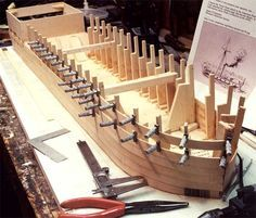 The unique stepped clamp design holds the plank against its full surface so you'll get neater, tighter fitting joints. Canoa Kayak, Model Ship Building, Model Boat Plans, Wood Toys Plans, Wooden Ship, Wood Screws, Wooden Boats, Tall Ships, Model Ships