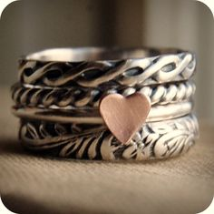 Sterling Silver - Stacking Ring Set of 4 - Rustic Romance - Your Size. $84.00, via Etsy.
