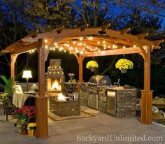 A pergola must have lights: inspiration dream-pergola + fireplace. Backyard  dining at it's finest :):