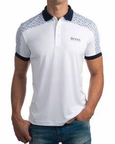 Polos Hugo Boss - Paddy Pro 2 Blanco Polo Shirt Design, Polo Design, Polo Rugby Shirt, Mens Polo T Shirts, Work Shirts, Printed Shirts, Polo Shirt Outfits, Polo Shirt Style, Golf Outfit