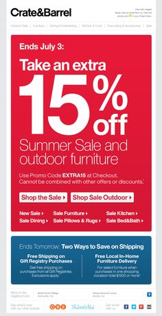 Crate & Barrel >> sent 6/29/13 >> ACTIVE SUBSCRIBER VERSION: Ends soon: Extra 15% off Summer Sale and outdoor furniture. // INACTIVE SUBSCRIBER VERSION: We miss you. Take an extra 15% off Summer Sale and outdoor furniture. >> Instead of separate creative for a win-back email, Crate & Barrel identified an appropriate email & created a new subject line to send to inactives. A clever & very efficient way to address inactives. —Todd Wilson, Associate Principal, Marketing Consulting, ExactTarget