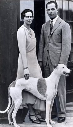 Their Imperial and Royal Highnesses Archduke Anton and Archduchess Ileana of Austria, Prince and Princess of Hungary, Croatia, and Bohemia. Married: July 1931 and greyhound ; Romanian Royal Family, Archduke, Greyhound Art, Men With Street Style, Royal Weddings, Prince And Princess, Ferdinand, Anton, Best Dogs