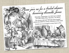 Alice in Wonderland Invitations - Baby Shower / Bridal Shower
