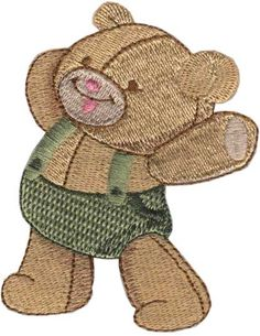 "Theodore Teddy Bear (from Ragdoll Critters) adorably cute baby animals for 4"" hoops. #machineembroidery #embroiderydesigns #animals #baby"